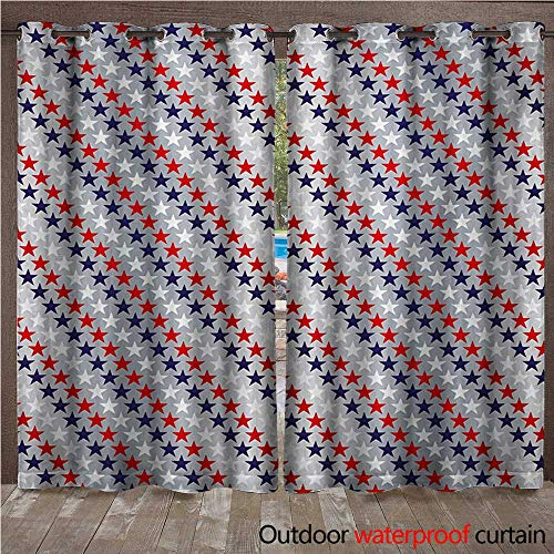 tdoor Curtains for Patio Waterproof July Fourth Stars Citizen National Day Patriotic Western Salute to The Union W96 x L108(245cm x 274cm) ()