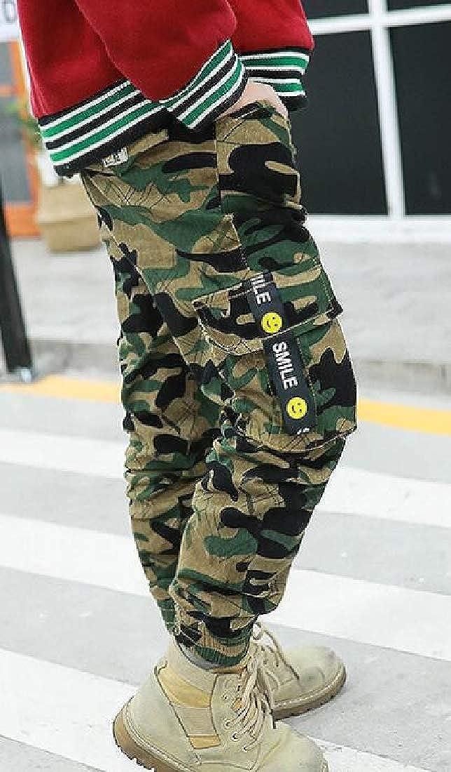 Sweatwater Boys Elastic-Waist Cargo Camouflage Rugged Stylish Jogging Pants