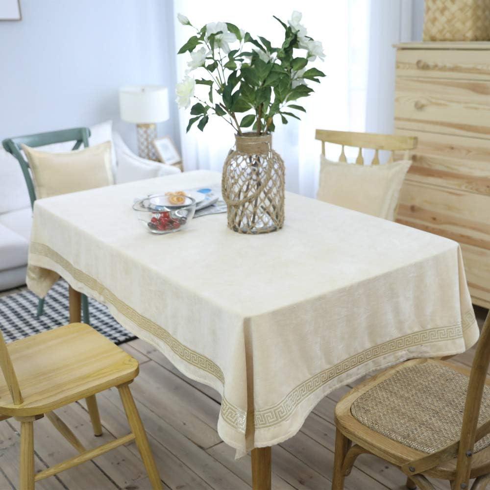 Rectangulaire antitache nappe blanche ou crème avec design brodé