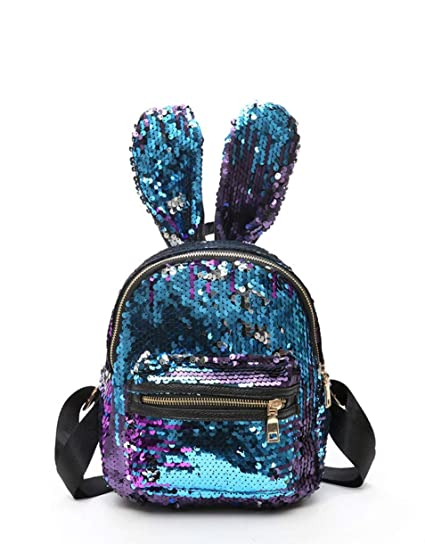 comprar online f372e a5051 Xuxuou 17CM (L) * 9CM (W) * 21CM (H) Mochila de Lentejuelas para Niñas con  Orejas de Conejo (Azul)