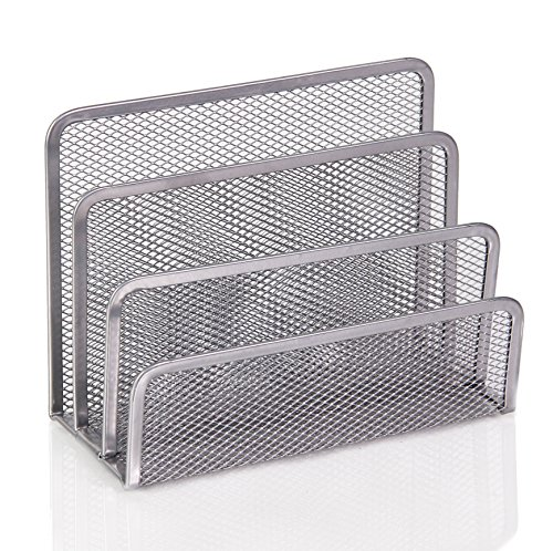 Ybm Home 3 Slot Mesh Silver Letters and Documents Sorter Holder 2372 (1)