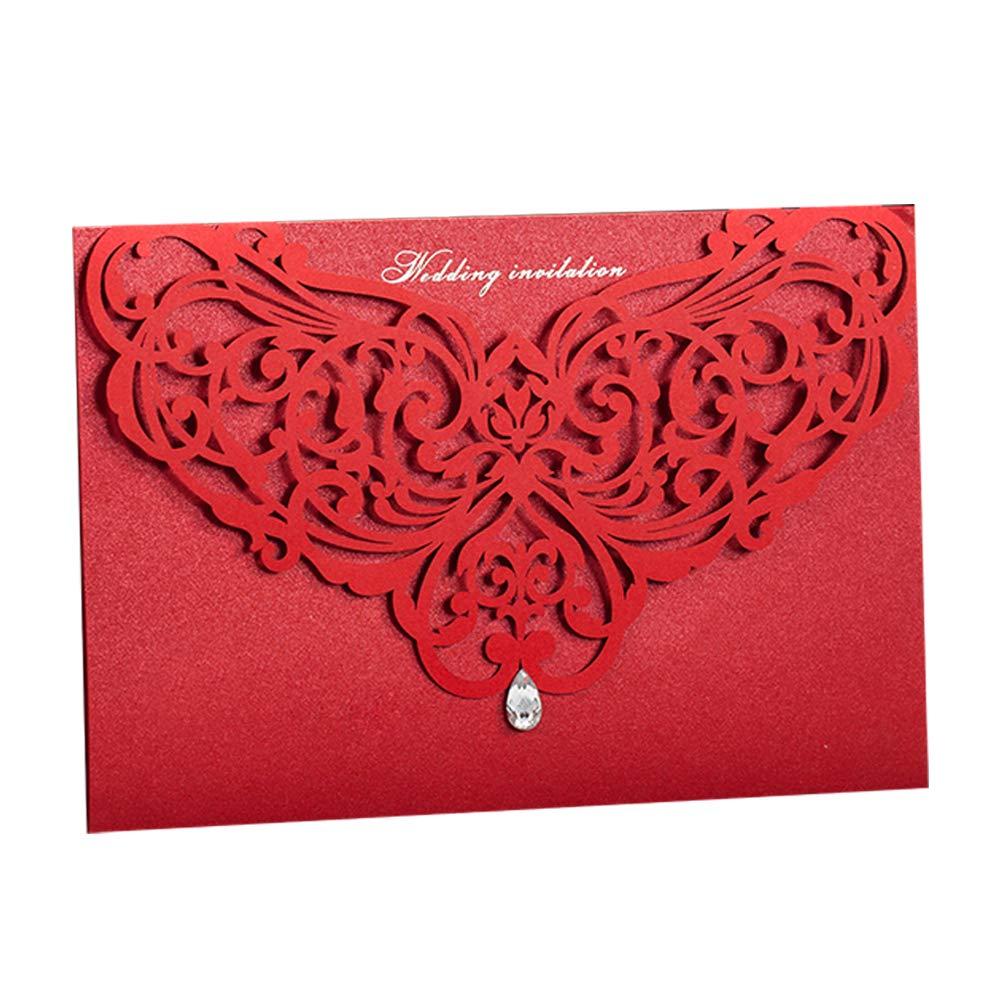 Traditional Red Laser Cut Bridal Shower Invite Invitation Set ...