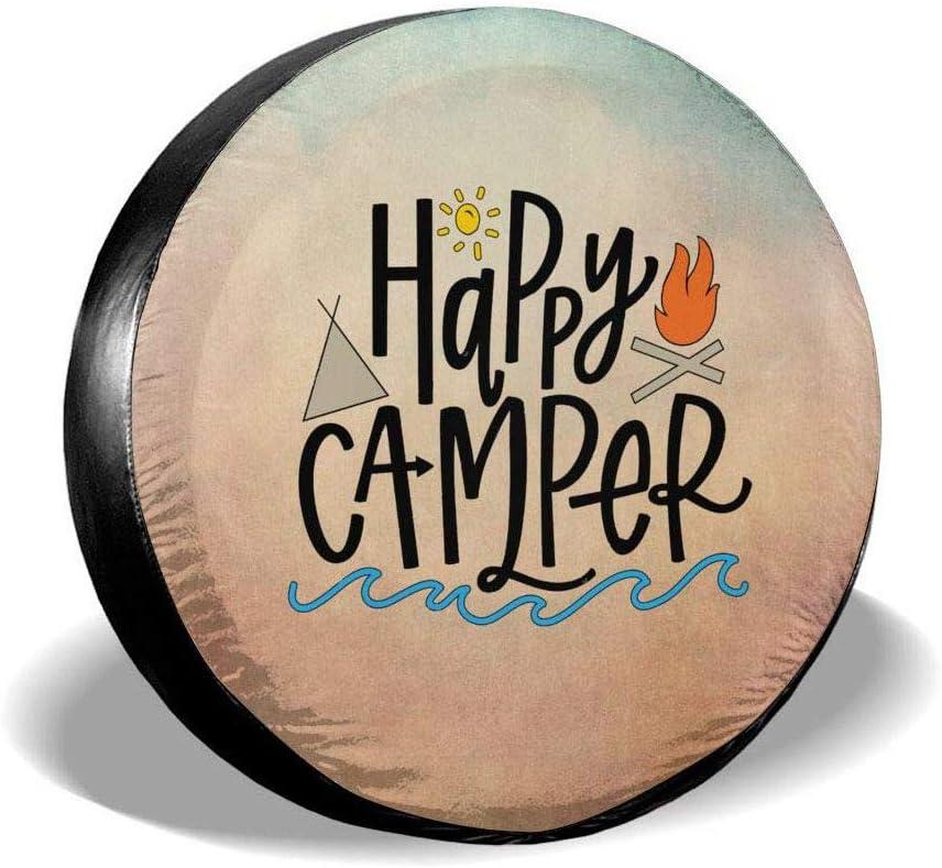 Uktly Reserveradabdeckung Happy Camper Reifenabdeckung f/ür Wohnmobile Jeep Wrangler Anh/änger Wohnmobil 14 15 16 17 Zoll Rad Wasserdicht Staubdicht und Sonnenschutz