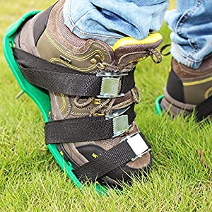 Lawn Aerator Sandals / Aerating Spikes Heavy Duty Spiked Shoes 3 Straps with Zinc Alloy Metal Buckles and Nails for Lawn Care Aeration by Lizber