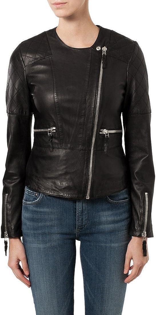 New Women Motorcycle Black Lambskin Leather Jacket Coat Size XS S M L XL WN095