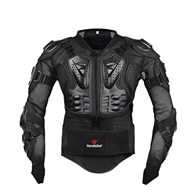 HEROBIKER Motorcycle Full Body Armor Jacket spine chest protection gear Motocross Motos Protector Motorcycle Jacket 2 Styles (XXXL, Black): Automotive