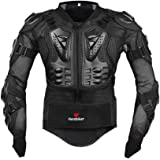 HEROBIKER Motorcycle Full Body Armor Jacket spine chest protection gear Motocross Motos Protector Motorcycle Jacket 2 Styles (L, Black)