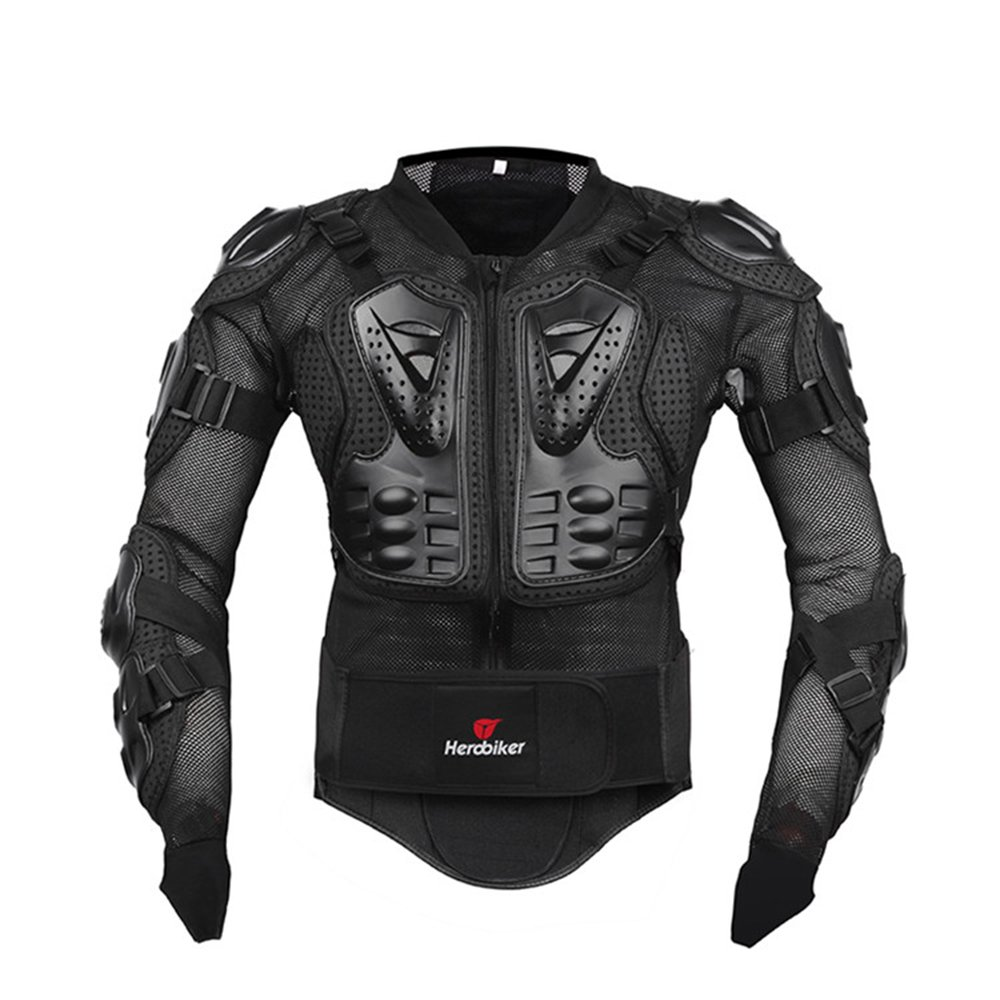 HEROBIKER Motorcycle Full Body Armor Jacket spine chest protection gear Motocross Motos Protector Motorcycle Jacket 2 Styles (XXL, Black)