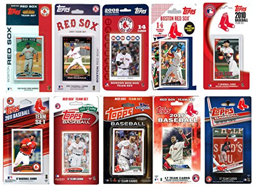C&I Collectables MLB Boston Red Sox Men's 10 Different Licensed Trading Card Team Sets, White