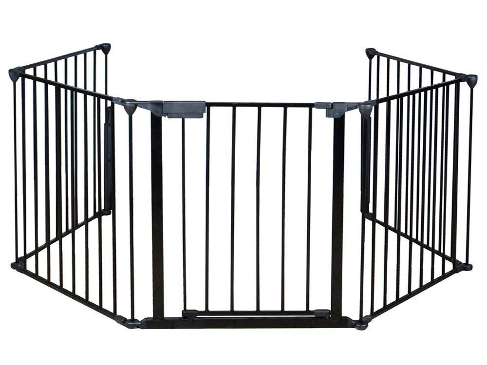 Hansosen Fireplace Fence Panel Baby Safety Fence Hearth Gate BBQ Metal Fire Gate Pet Dog Cat Christmas Tree Fence Without Installation