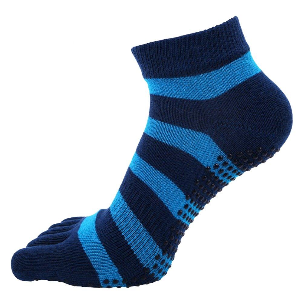 Ouvin 2paia Stripe yoga calzini antiscivolo cotone pilates calzini con dita, donna, Blue, L AL1688