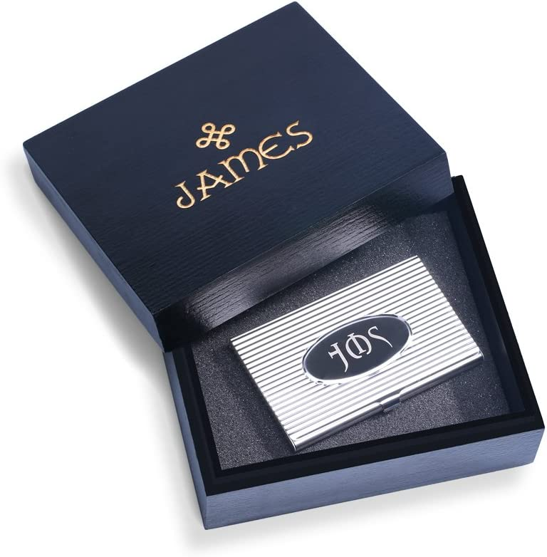 DG personalizado Monogram tarjetero con caja de regalo de madera – libre grabado personalizado – mejor regalo para los profesionales, graduados, cumpleaños, Navidad: Amazon.es: Hogar