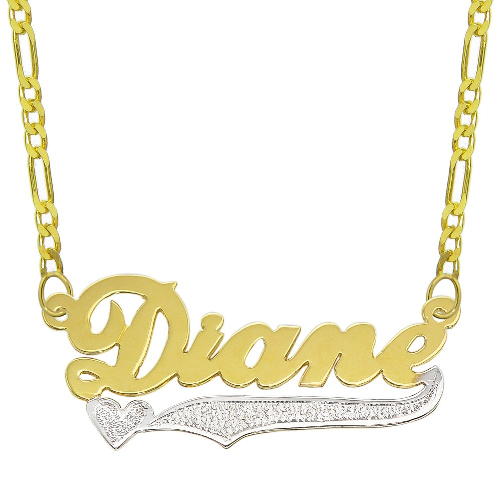 14K Two Tone Gold Personalized Name Plate Necklace - Style 9 (20 Inches, Light Figaro Chain)