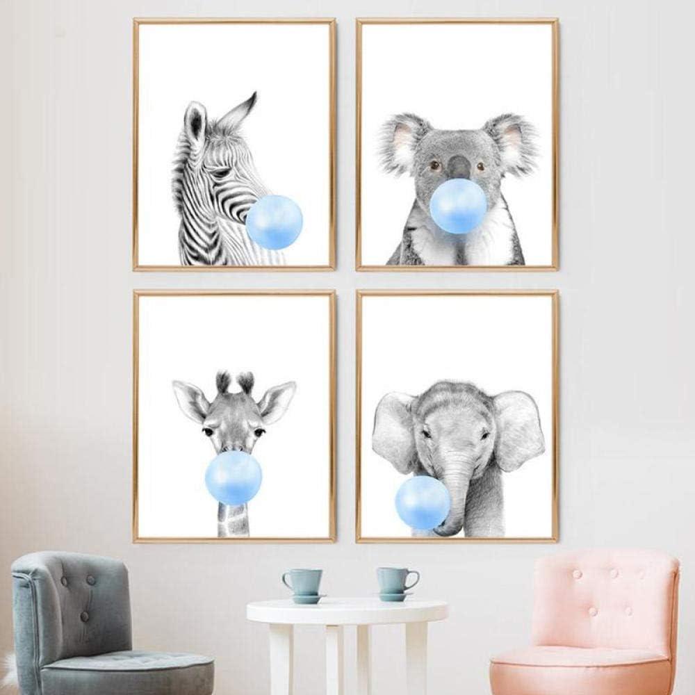 Swallow Nursery Animal Print Blue Bubble Gum Poster Zebra Koala ...