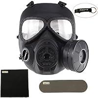 HaoYK, finta maschera antigas M04, con ventilatore Turbo, attrezzo di protezione per airsoft e paintball, Black - Portachiavi incluso