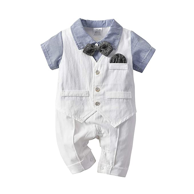 259e209504cb2 Baby Boy Gentleman Romper with Tuxedo Bowtie, Newborn Short Sleeves  Jumpsuit Overall Outfit