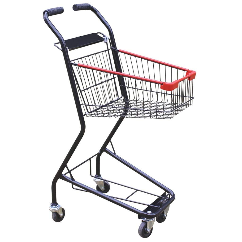 Xilinshop Portable Utility Carts Household with Metal Wheel Shopping Cart Supermarket Shopping Cart Creative Double Basket Shopping Cart