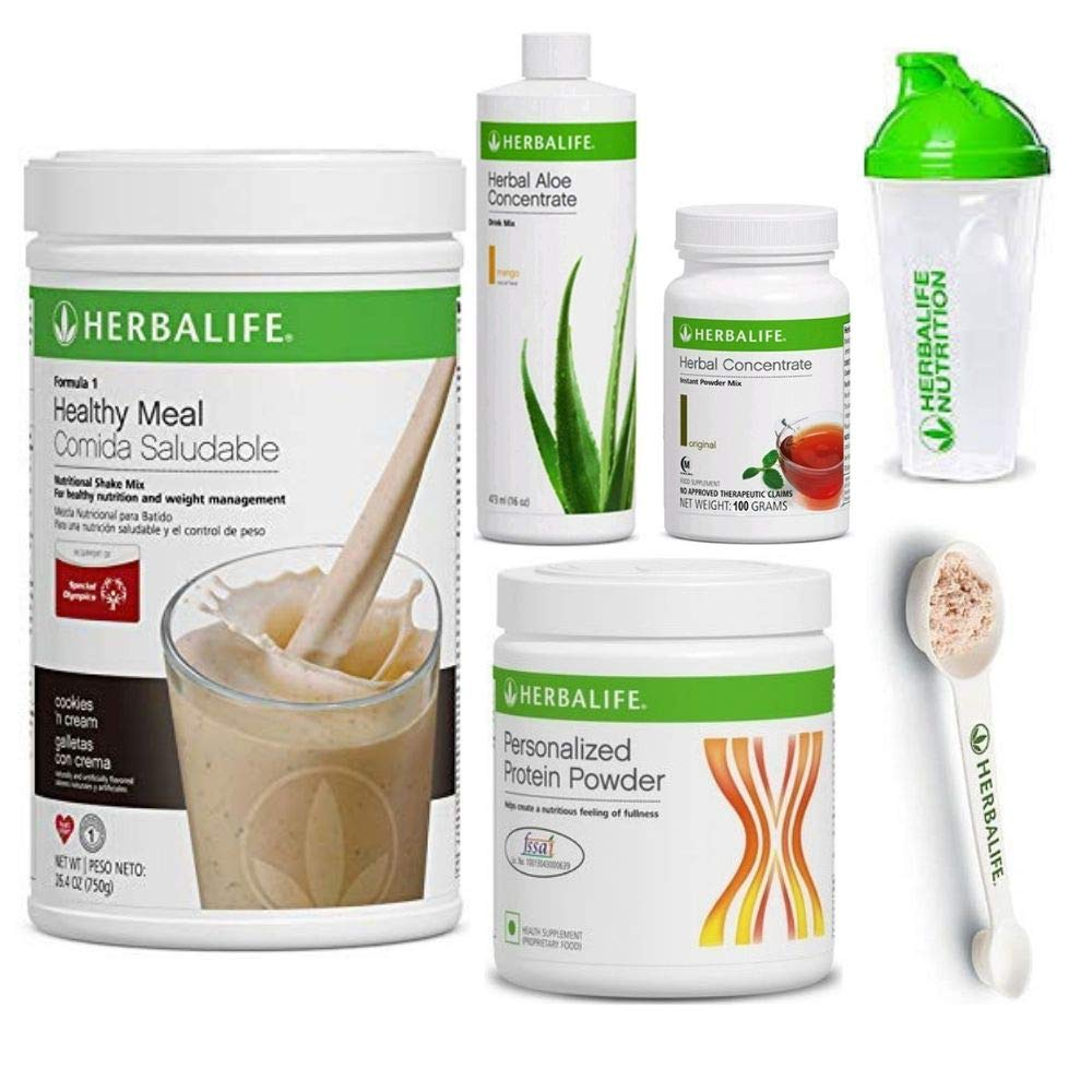 Herbalife Shake Healthy Meal Kit | Cookies and Cream Formula 1 + Herbal Aloe (Mango) + Herbal Tea Concentrate + Protein Powder + Shaker Cup & Spoon by Herbalife Nutrition