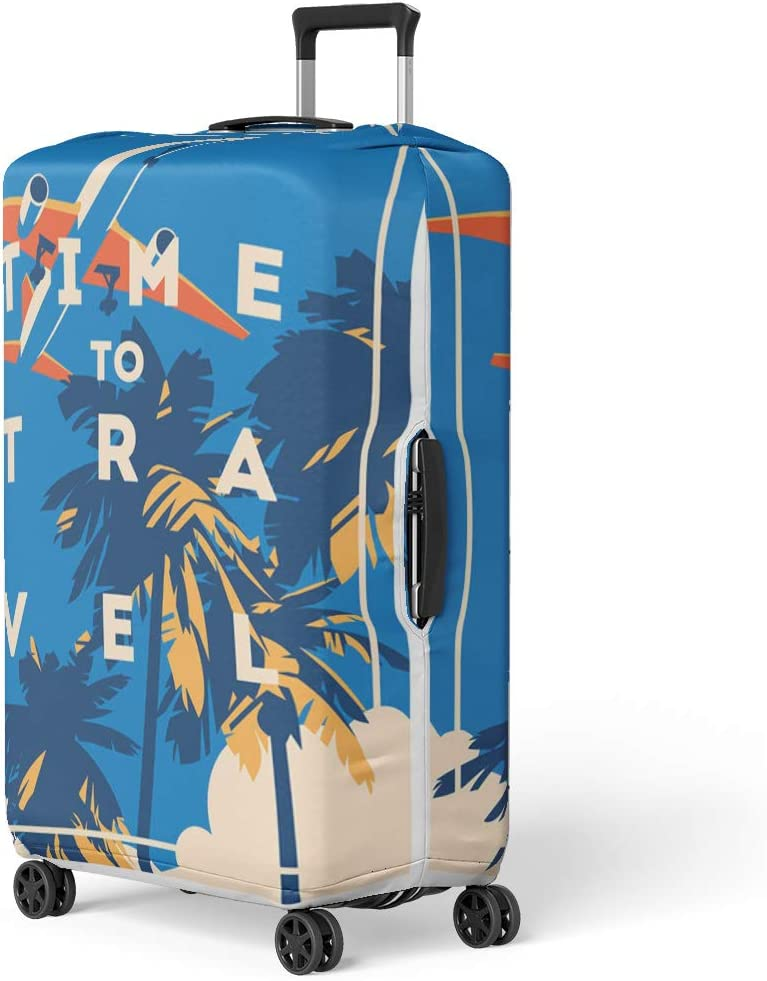 Pinbeam Luggage Cover Vintage Time to Travel and Summer Holiday Retro Travel Suitcase Cover Protector Baggage Case Fits 22-24 inches