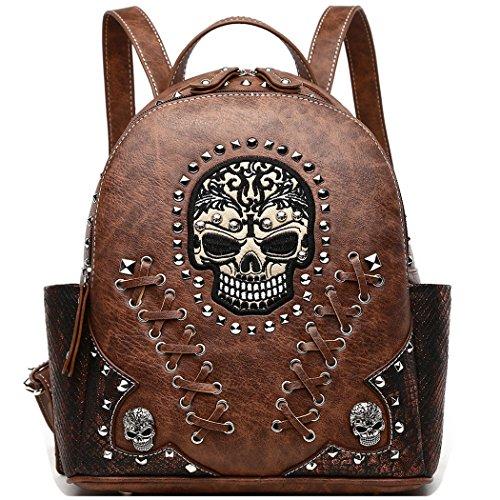 Western Origin Sugar Skull Day Punk Art Backpack Rivet Bookbag Shoulder Bag (Brown)