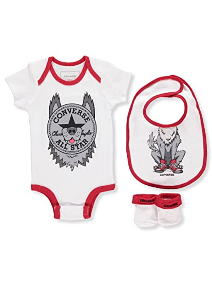 46472e14f Converse Baby Boys' 3-Piece Layette Set - Wolf Gray, 0-6 Months: Amazon.co. uk: Clothing