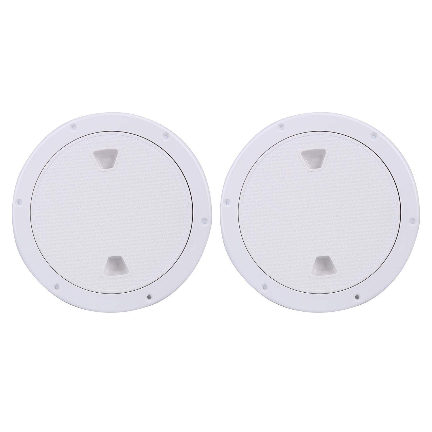 Amarine Made 2 Pack of Boat Round Non Slip Inspection Hatch,Detachable Cover and Pre-drilled Holes in Deck Plate Easily to Install (White, Opening Dia: 7'') by Amarine Made