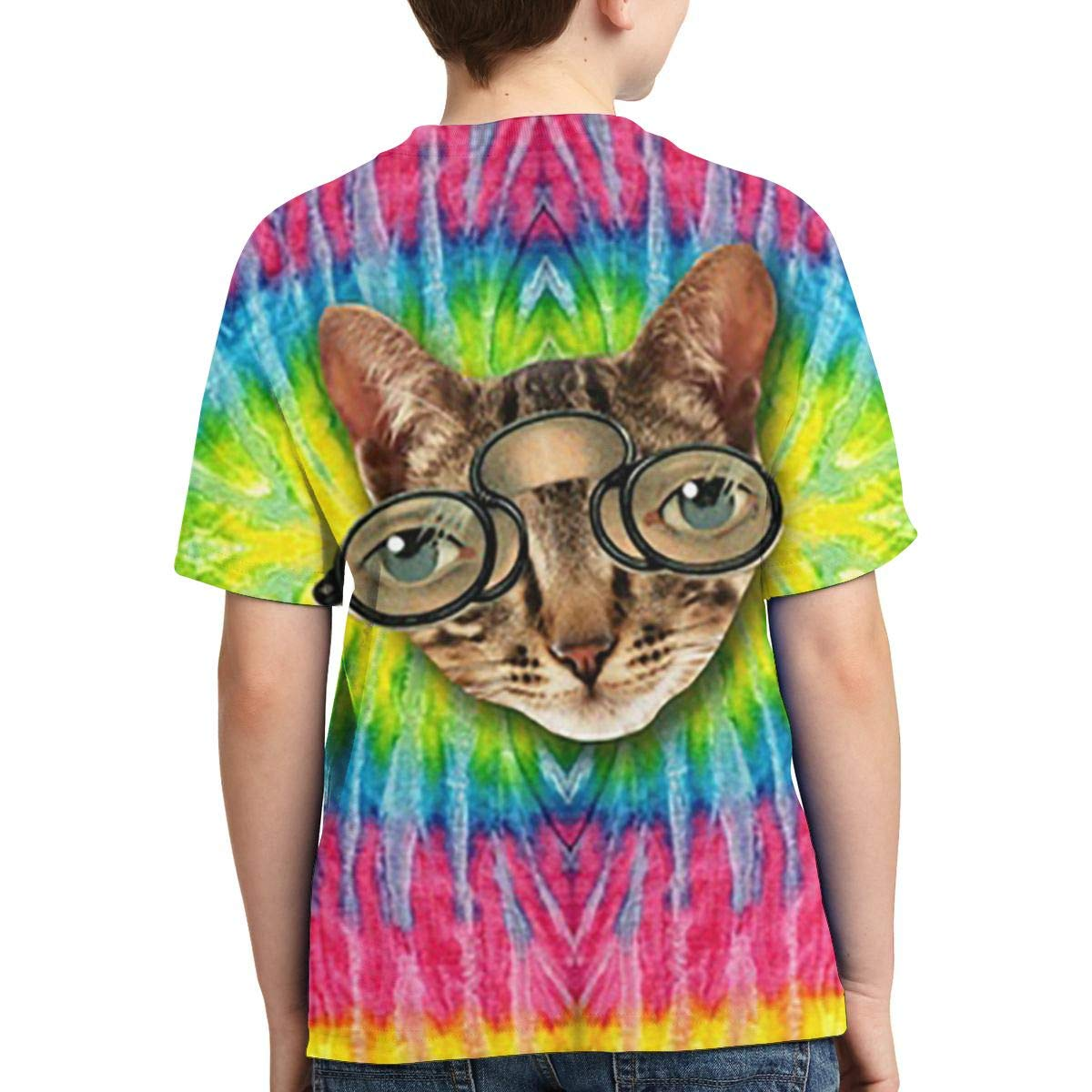 BIAN-64 Youth Tie Dye Cat Casual 3D Pattern Printed Short Sleeve T-Shirts Top Tees