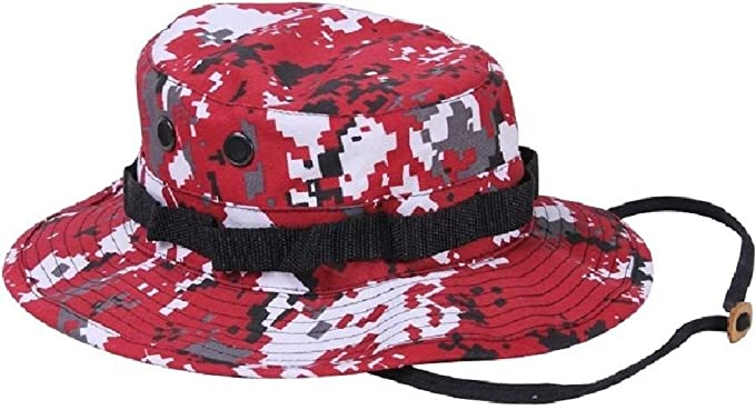 Amazon.com  Digital Red Camouflage Military Police Tactical Bucket Hunting Boonie  Hat  Clothing 407253dfcfbe