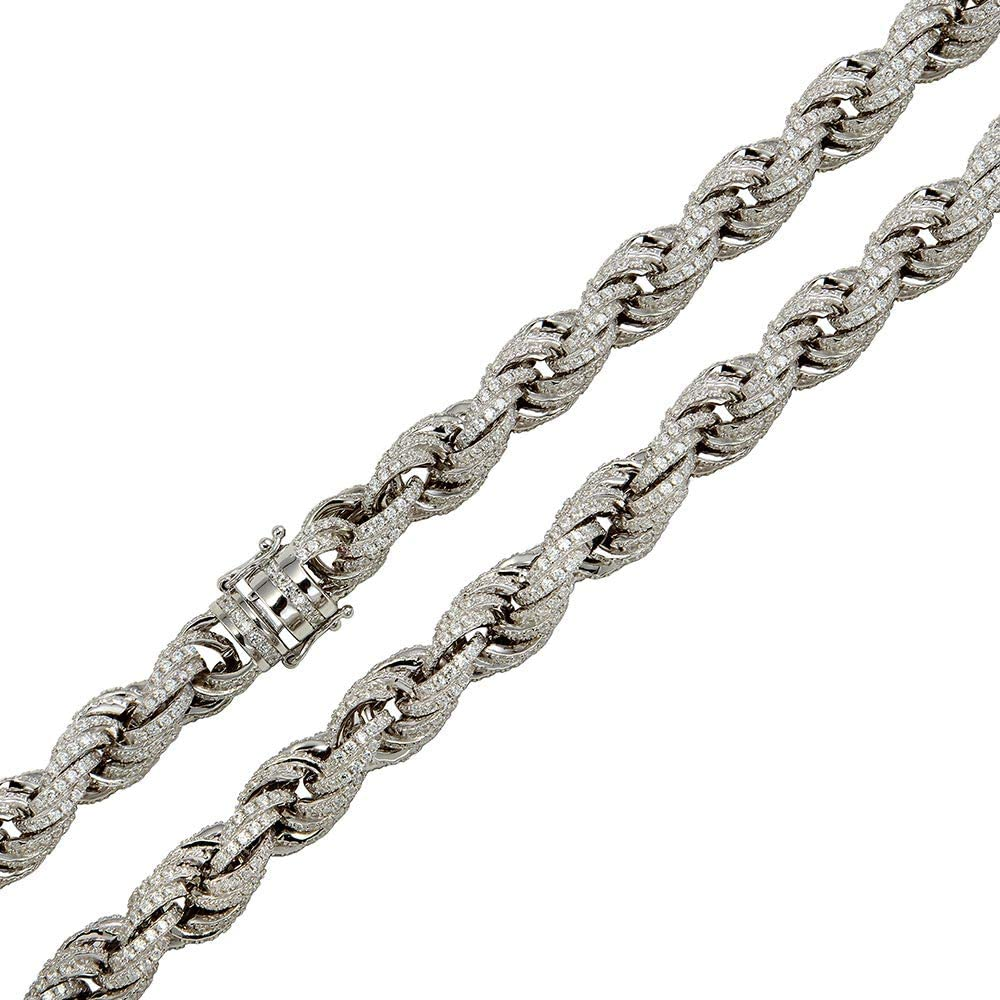 Princess Kylie Rhodium Plated Sterling Silver Franco Design 100 Chain 1.1mm