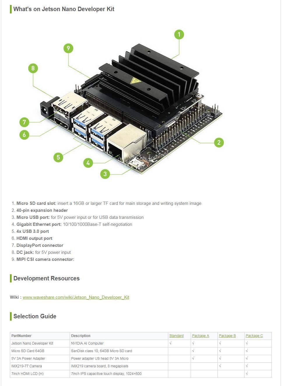 Waveshare NVIDIA Jetson Nano Developer Kit Small Powerful Computer