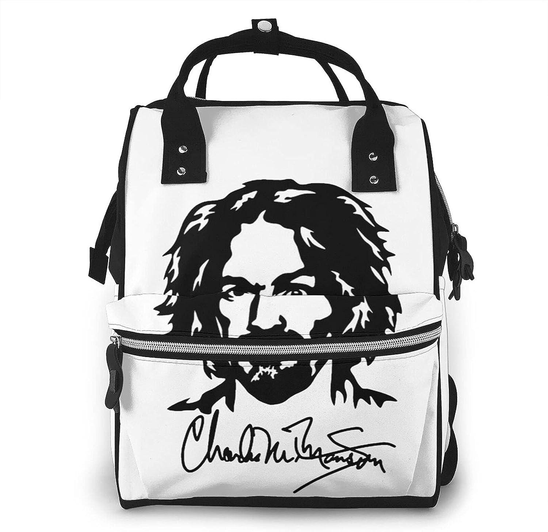 EDGHUOEIH Charles Manson - Bolsa para pañales multifunción para viaje, bolsa cambiadora de bebé, gran capacidad, impermeable, elegante