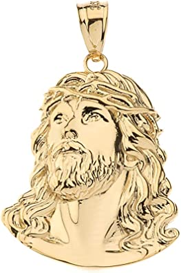 14k White And Yellow Gold Juses Religious Pendant Charm