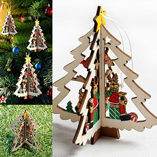 MAZIMARK--3D Wooden Christmas Decoration Xmas Tree Ornaments Hanging Home Party Decor - National Costume Of Different Countries For Men