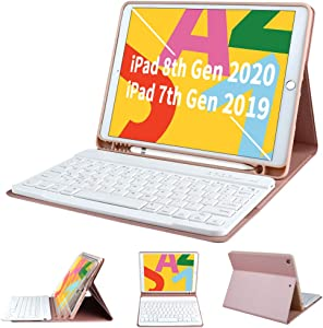 iPad 8th Generation 2020 Case with Keyboard 10.2 Inch, iPad 7th Gen 2019 Keyboard Case, Detachable Wireless Bluetooth Keyboard with Built-in Pencil Holder for iPad 8th/7th Gen 10.2 Inch