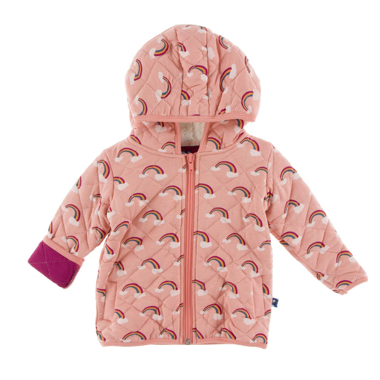 Kickee Pants Little Girls Print Quilted Jacket with Sherpa-Lined Hood - Blush Rainbow/Berry, 6-12 Months by Kickee Pants