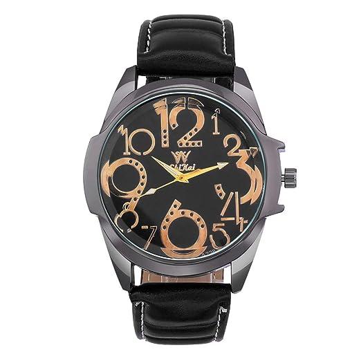 HuaMore,Reloj para Hombre, Correa de Piel, Dial Digital Grande para Hombre, Reloj Digital Creativo: Amazon.es: Relojes