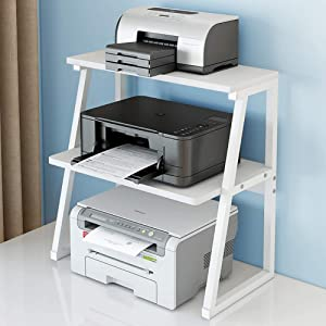 Printer Stand ,Printer Stand Table Shelf Cabinet Desk with Storage Office Home Desktop Under Desk Printer Stand Office Furniture for Small Space (White)