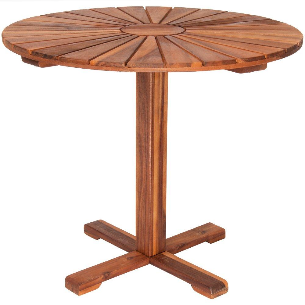 Bistro Table Wooden Garden Patio Round Sunrise Pre-Oiled Acacia Wood 70.5cm Outdoor Terrace Deuba