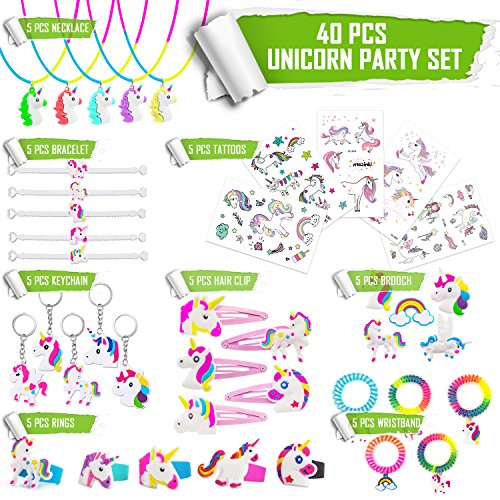 (40 PCS Rainbow Unicorn Jewelry/Tattoos Set,Unicorn Party Favors for Kids - Unicorn Tattoos/Keychain/Necklace/Bracelet/Rings/Hair)