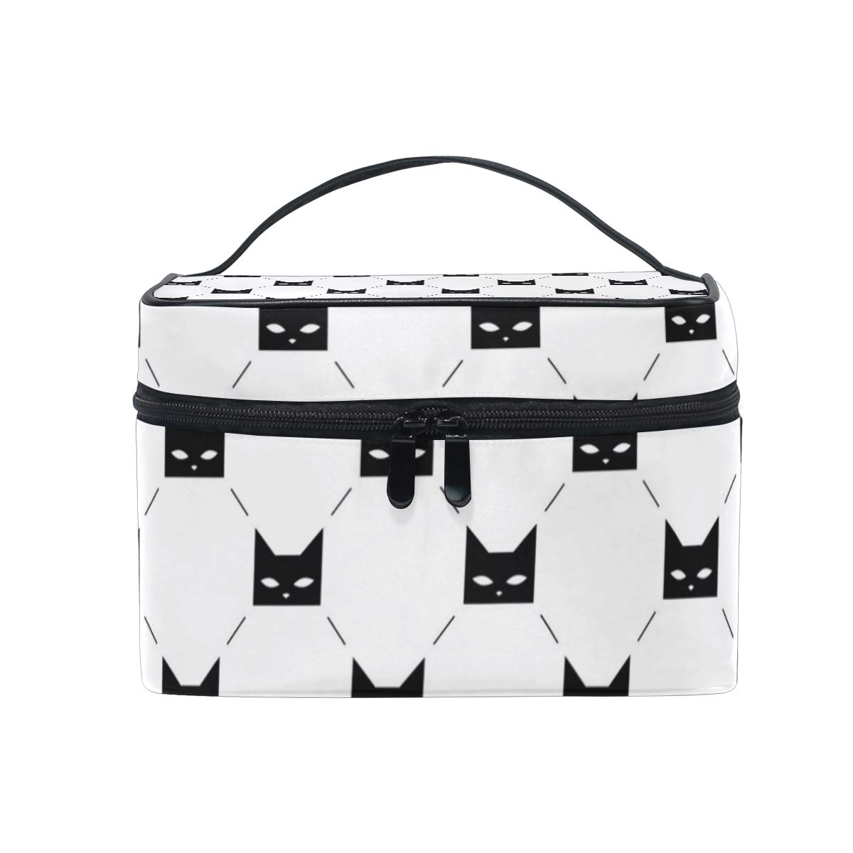 b90277e9fc8b Amazon.com : Makeup Bag Black Cat Heads White Cosmetic Case Portable ...