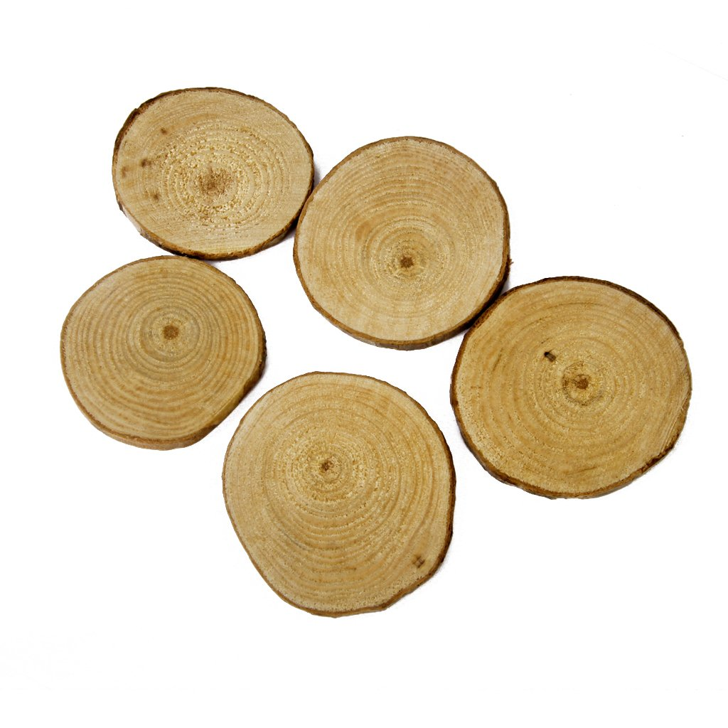 Jili Online 60 Pieces Natural Vintage Wood Wood Tree Pieces for Wedding Decoration Coasters 5-6cm by Jili Online (Image #10)