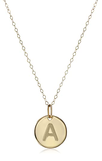 Amazon 14k yellow gold disc initial a pendant necklace 18 14k yellow gold disc initial quotaquot pendant mozeypictures Choice Image