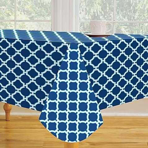 Elrene Lattice Vinyl Tablecloth 52in X 70in Oblong Oval T..