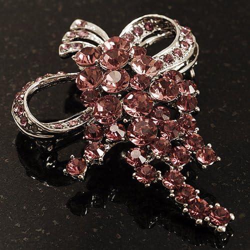 Silver Tone Avalaya Bright Lilac Crystal Grapes Brooch