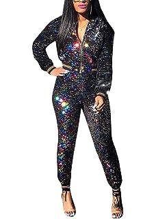 ecf792d0ef1 2 Pieces Clubwear Set for Women Long Sleeve Zipper up Shiny Tops+Stripe  Loose Pants