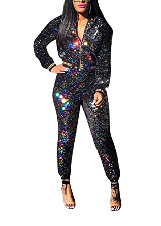 991c7d1090a5 WOKANSE Women s Sequin Glitter Long Sleeve Sweatshirts and Skinny Long  Pants Two Piece Outfits
