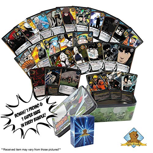 Promo Cards Naruto - 40 Assorted Naruto Collectble Cards with Rares - Foils - Bonus 1 Promo - 1 Super Rare in Every Bundle! Comes in Naruto Tin for Storage! Includes Golden Groundhog Deck Box!