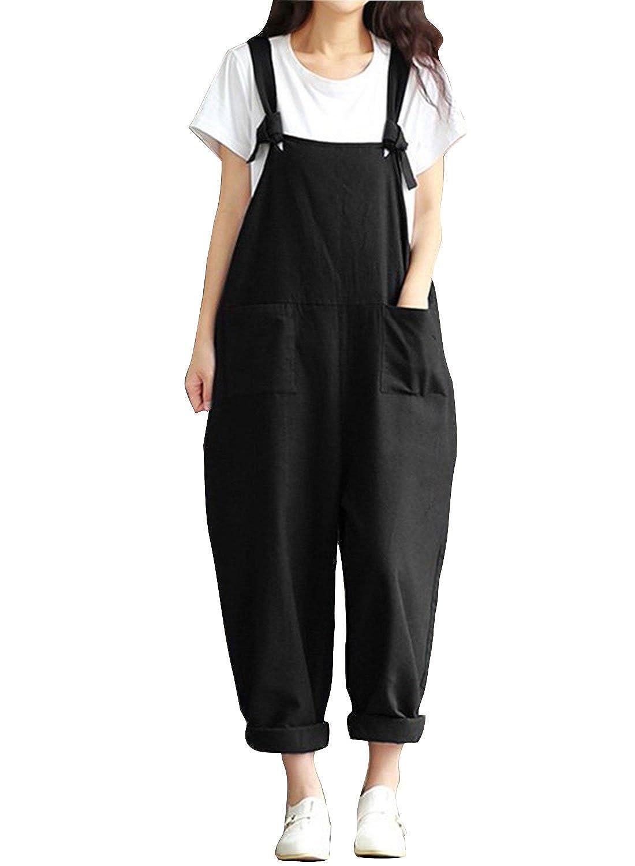IGXX Womens Casual Loose Linen Cotton Bib Baggy Overalls Jumpsuits Plus Size Romper KF-LSZYF-091-XXXL3