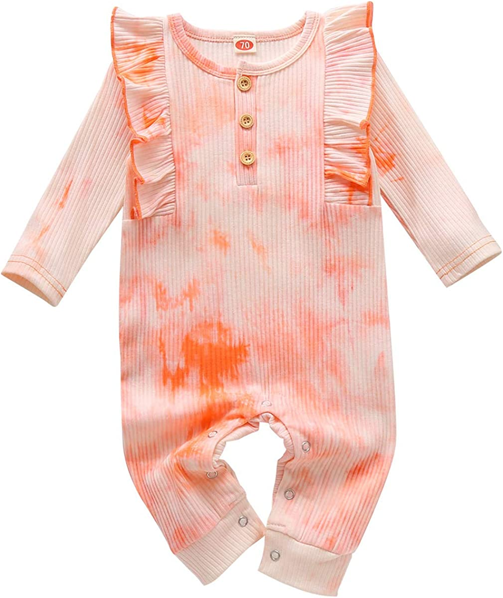 FYMNSI Newborn Infant Baby Girls Boys Tie Dye Printed Romper One Piece Bodysuit Jumpsuit Fall Winter Pajamas Casual Clothes for 0-18 Months