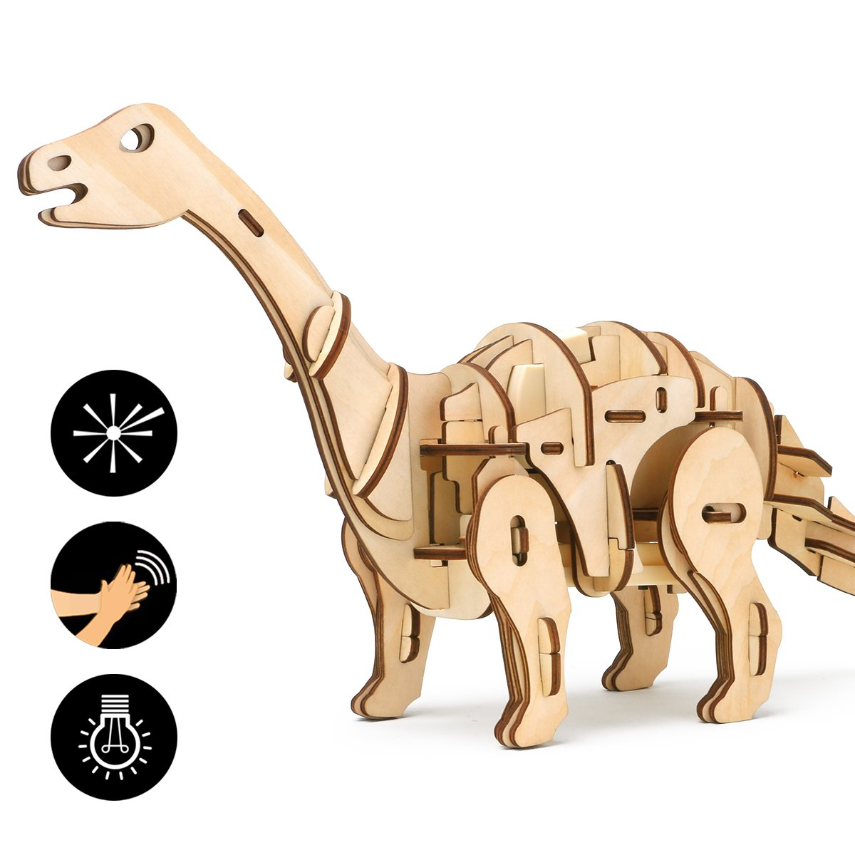 ROBOTIME 3D Wooden Dinosaur Puzzle Remote Control Toys Laser-Cut Robot Children Building Toys Cool Engineer Kit Apatosaurus Best Birthday Gifts for Boys and Girls 7 8 9 10 11 12 Year Old